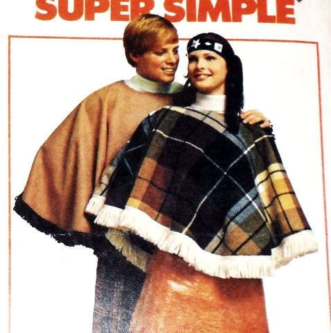 Retro,Groovy,Mod,Poncho,1970s,Pattern.,Unisex,Mens,Womens.,Fringe,Trim.,sewinghappyplace, Sewing Pattern, Vintage