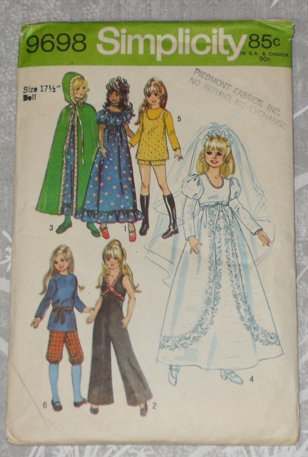 Wedding Jumpsuit Cape Hippy Dress Hot Pants.1970s Pattern Doll Chrissy - product images  of