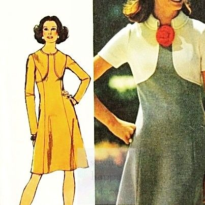 Fit,Flare,Dress,w,Seam,Interest,1970s,Pattern,Fauxlero,Color,Block,sewinghappyplace, Sewing Pattern, Vintage