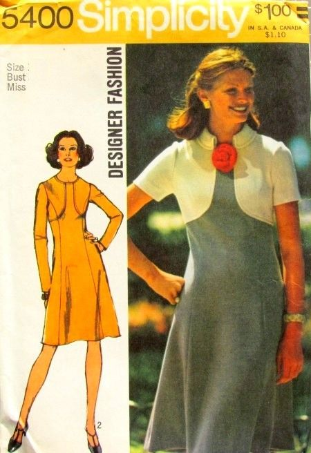 Fit Flare Dress w Seam Interest 1970s Pattern Fauxlero Color Block - product images  of