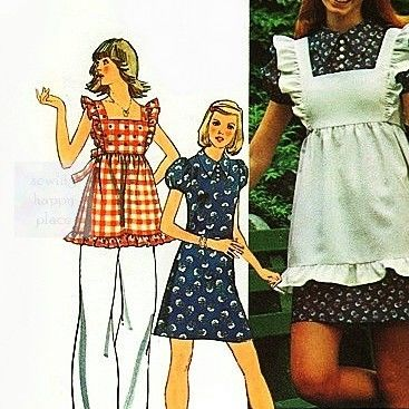 Playful,Dress,Pinafore,1970s,Pattern,Ruffles,Suntop,Tunic.,sewinghappyplace, Sewing Pattern, Vintage