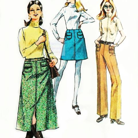 A,line,Midi,Mini,Skirt,1970s,Pattern,sz,10petite,Hollywood,Waist,Pants,sewinghappyplace, Sewing Pattern, Vintage
