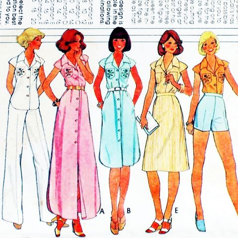 Casual,70s,Pattern.,Blouse,Dress,Shirttail,Hem.,Shorts,Wide,Leg,Pants.,sewinghappyplace, Sewing Pattern, Vintage