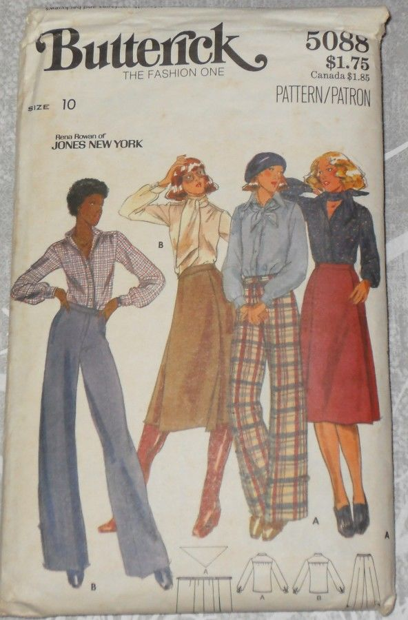 Designer Separates Jones New York 1970s Pattern. Wide Leg Trouser Pant - product images  of