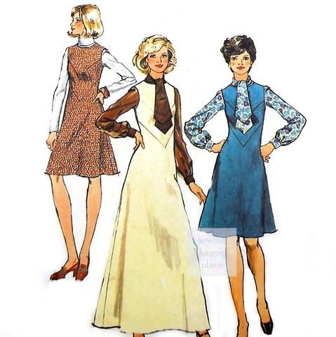 Jumper,or,Dress,Chevron,Seam,Detail,70s,Pattern.,Blouse,Tie,Collar.,sewinghappyplace, Sewing Pattern, Vintage