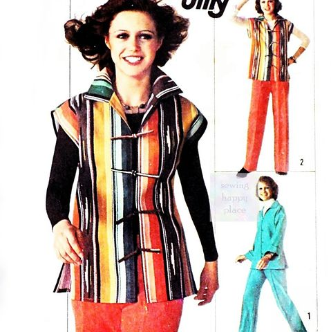 1970s,Pattern,Jacket,w,Drop,Shoulder,Kimono,Sleeves.,Pants,Cut,as,One.,sewinghappyplace, Sewing Pattern, Vintage