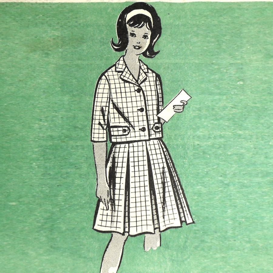 Girls 2 pc Preppy Suit/ 1960s Pattern/ sz 8/ Inverted Pleat Full Skirt - product images  of