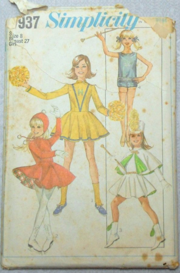Girls Uniform Costume Majorette Cheerleader Skating Baton 60s Pattern - product images  of