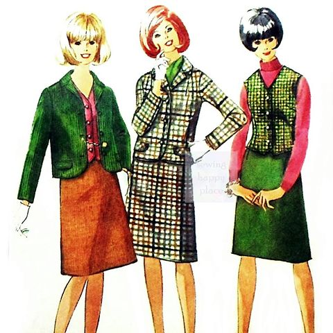 Mod,Preppy,Separates,1960s,Pattern,A,line,Skirt,Cropped,Jackt,Vest,sewinghappyplace, Sewing Pattern, Vintage