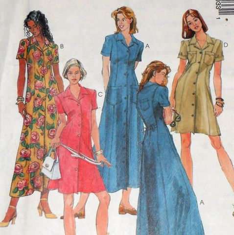 Long,Slim,Button,Front,Dress,1990s,Pattern.,Military,Pocket,Styling.,sewinghappyplace, Sewing Pattern, Vintage