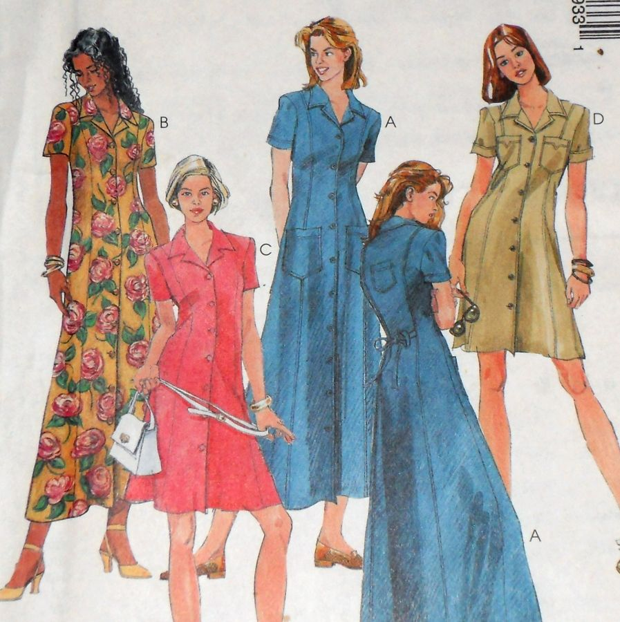 Long Slim Button Front Dress 1990s Pattern. Military Pocket Styling. - product images  of