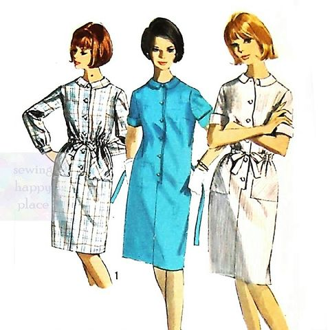 Shift,Shirtdress,1960s,Pattern.,Slim,Skirt.,Front,Button,Tab,Detail.,sewinghappyplace, Sewing Pattern, Vintage