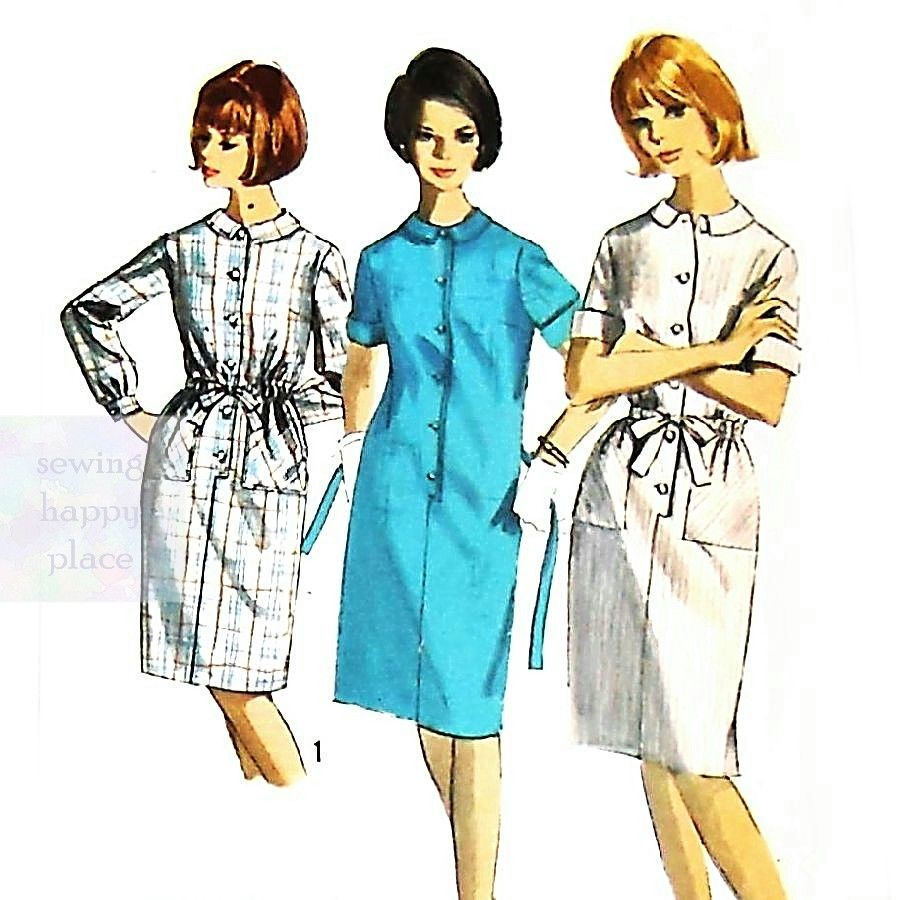 Shift Shirtdress 1960s Pattern. Slim Skirt. Front Button Tab Detail. - product images  of
