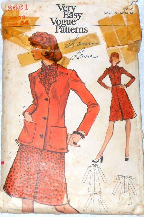 Jacket Dress 1970s Pattern. Day Office Wear. Bow Neckline - product images  of