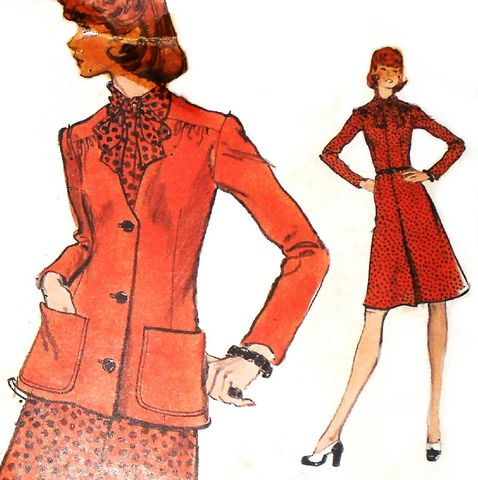 Jacket,Dress,1970s,Pattern.,Day,Office,Wear.,Bow,Neckline,sewinghappyplace, Sewing Pattern, Vintage