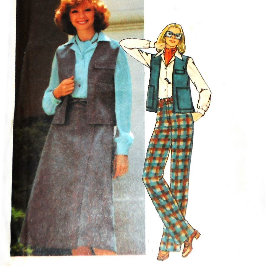 Vest w Cargo Pockets. 1970s Pattern. Wrap Skirt. Pants. Casual Outdoor - product images  of