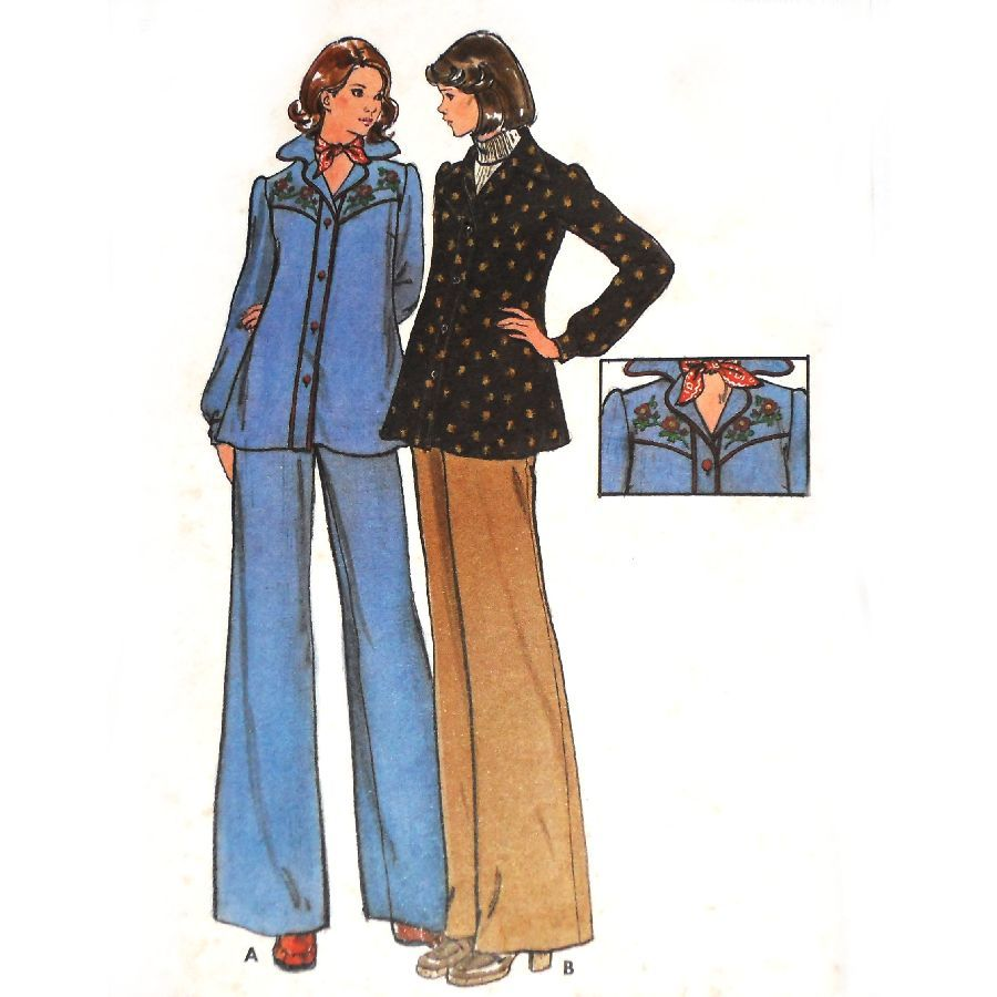 Maternity Top Pants. 1970s Pattern. Western inspired. Transfers. Uncut - product images  of