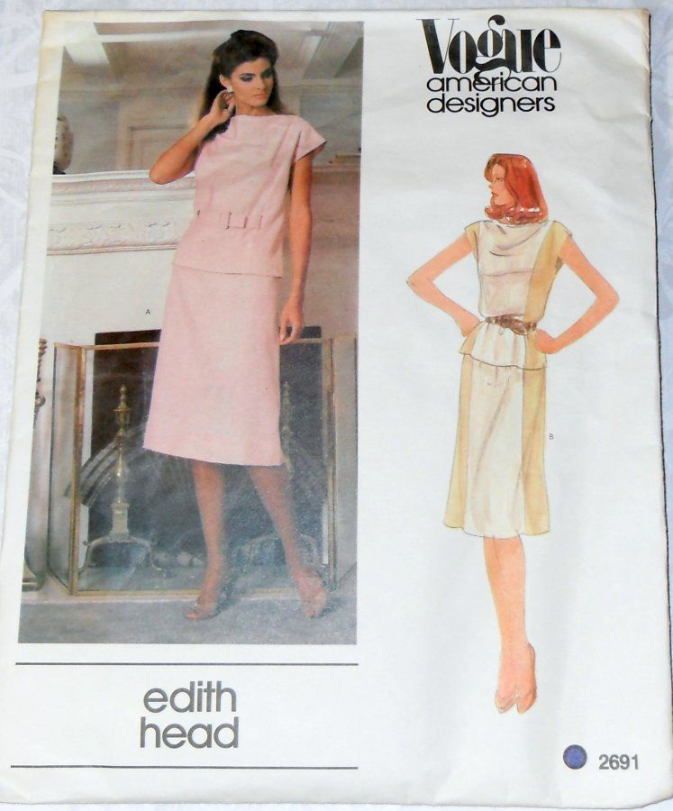 1970s Pattern. Designer Edith Head. Top Skirt. Color Block. Contrast - product images  of