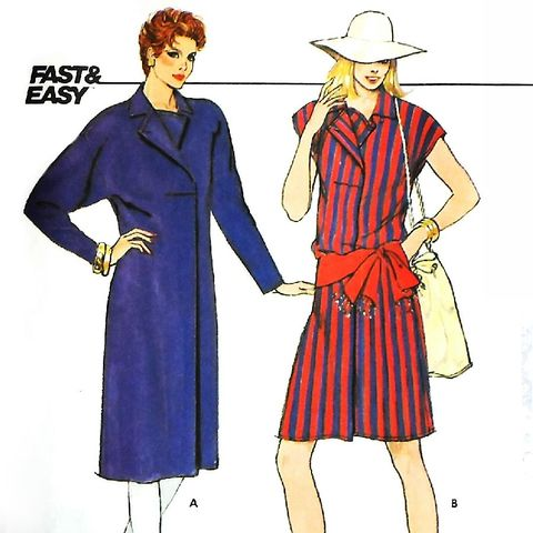 Loose,Fit,Dress,w,Front,Pleat.,1980s,Pattern.,Collar,Interest.,Casual,sewinghappyplace, Sewing Pattern, Vintage