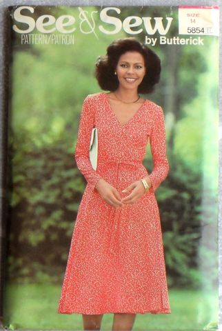 Wrap,Dress,4,Knits.,1980s,Pattern.,Fit,Flare.,Front,Ties.,Uncut,FF,sewinghappyplace, Sewing Pattern, Vintage