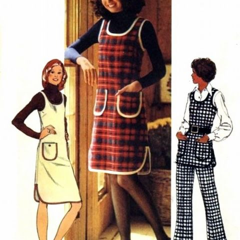 Tank,Style,Jumper,or,Tunic,w,Pants.,1970s,Pattern.,Mod,Braid,Trim,sewinghappyplace, Sewing Pattern, Vintage