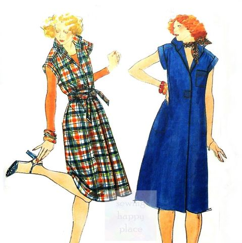 Loose,Fit,Pullover,Jumper,Dress.,1970s,Pattern.,Sash.,Stand,Up,Collar.,sewinghappyplace, Sewing Pattern, Vintage