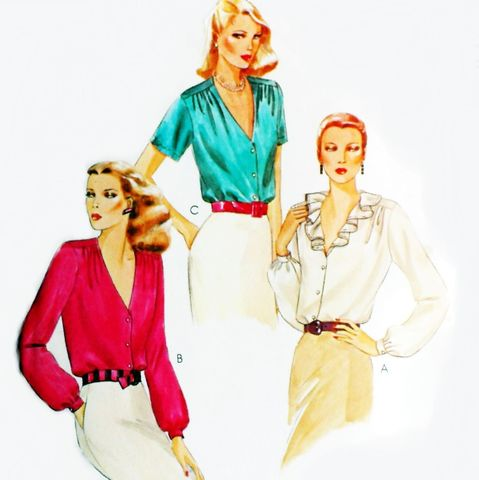 Great,Dressy,Blouse,w,Shoulder,Ease,1970s,Pattern.,Gathers.,Deep,VNeck,sewinghappyplace, Sewing Pattern, Vintage