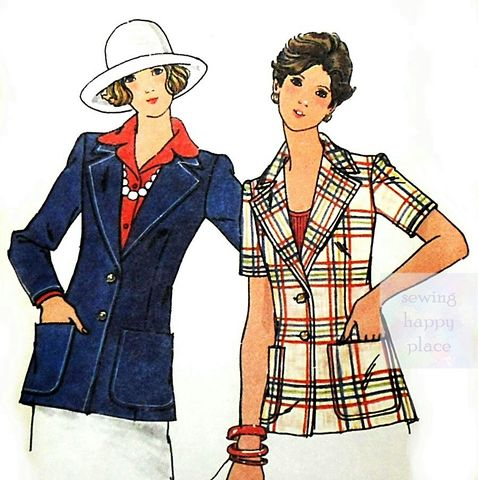 Basic,Jacket,1970s,Sewing,Pattern.,Notch,Collar.,Patch,Pockets.,Uncut.,sewinghappyplace, Sewing Pattern, Vintage