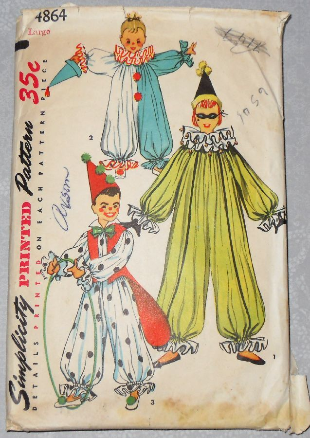 Childs Clown Costume. 1950s Pattern. Party Halloween Pretend Dress Up. - product images  of