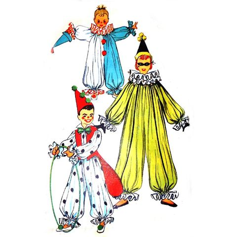 Childs,Clown,Costume.,1950s,Pattern.,Party,Halloween,Pretend,Dress,Up.,sewinghappyplace, Sewing Pattern, Vintage