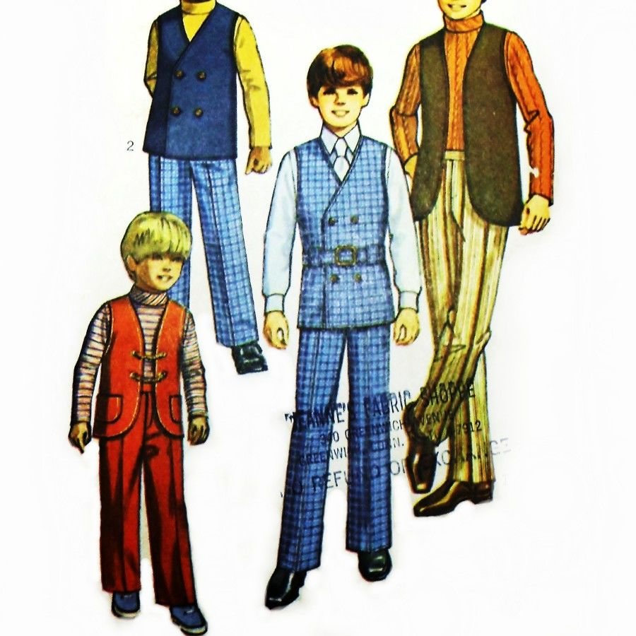 Brady Bunch 1970s Pattern. Boys Dress Slacks Trousers Vest Turtleneck. - product images  of