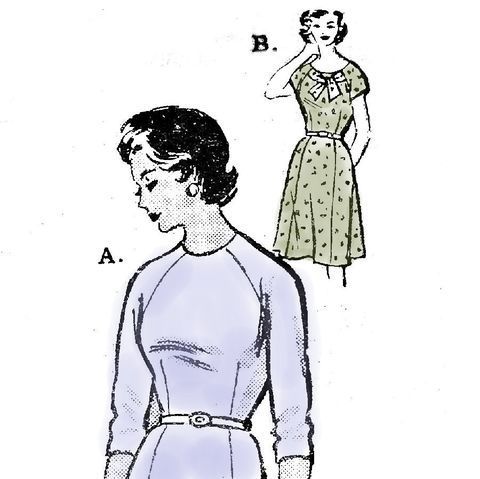 Dress,w,Portrait,Bow,Neckline/,1960s,Pattern/,Elegant,Easy/,Mail,Order,sewinghappyplace, Sewing Pattern, Vintage