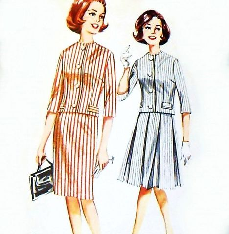 Suit,1960s,Pattern.,Jackie,O.,with,Slim,or,Pleated,Full,Skirt,sewinghappyplace, Sewing Pattern, Vintage