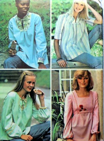 Yoked,Tops,Smocks,Maternity.,1970s,Pattern.,Front,Yoke.,Retro,Boho.,sewinghappyplace, Sewing Pattern, Vintage
