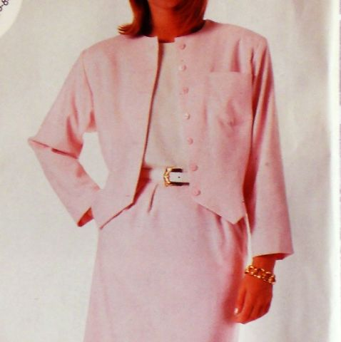 Jacket,w,Weskit,Hem,Detail.,1980s,Pattern.,Slim,Skirt.,Back,Vent.,sewinghappyplace, Sewing Pattern, Vintage