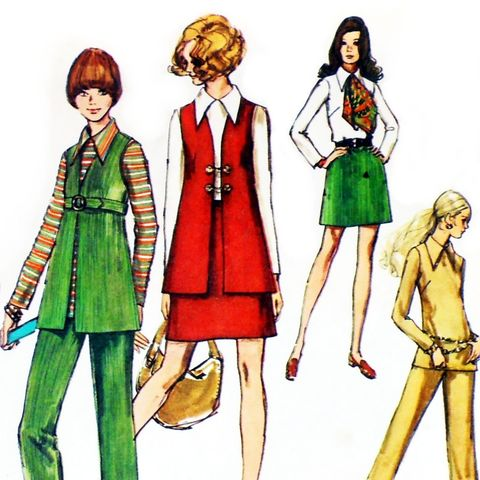 Empire,Belted,Vest,1970s,Pattern.,Aline,Mini,Skirt.,Casual,Office.,sewinghappyplace, Sewing Pattern, Vintage