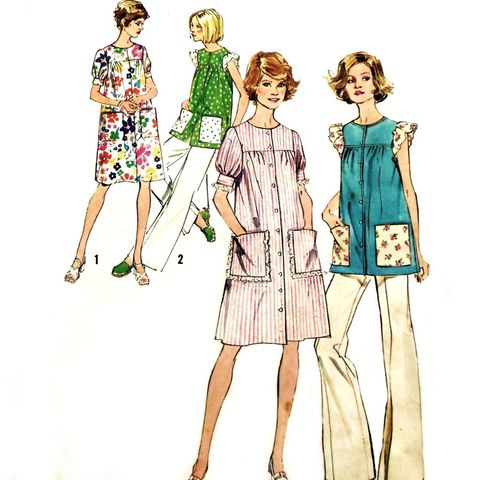 Smock,Dress,Top,House,70s,Pattern,Flutter,Sleeves,Soft,Gathers.,sewinghappyplace, Sewing Pattern, Vintage
