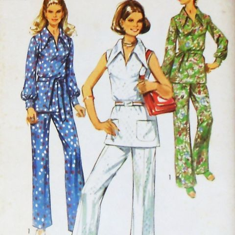 Retro,Mod,Top,Pants.,1970s,Pattern.,Wide,Collar.,Uncut,FF.,sewinghappyplace, Sewing Pattern, Vintage
