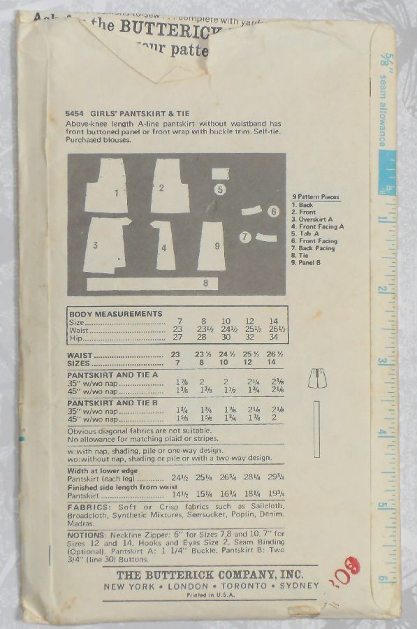 Girls Culotte Pantskirt Skort. 1970s Pattern. Mock Wrap or Front Panel. - product images  of