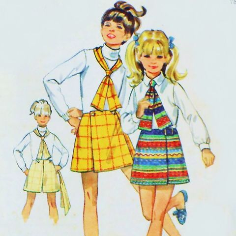 Girls,Culotte,Pantskirt,Skort.,1970s,Pattern.,Mock,Wrap,or,Front,Panel.,sewinghappyplace, Sewing Pattern, Vintage