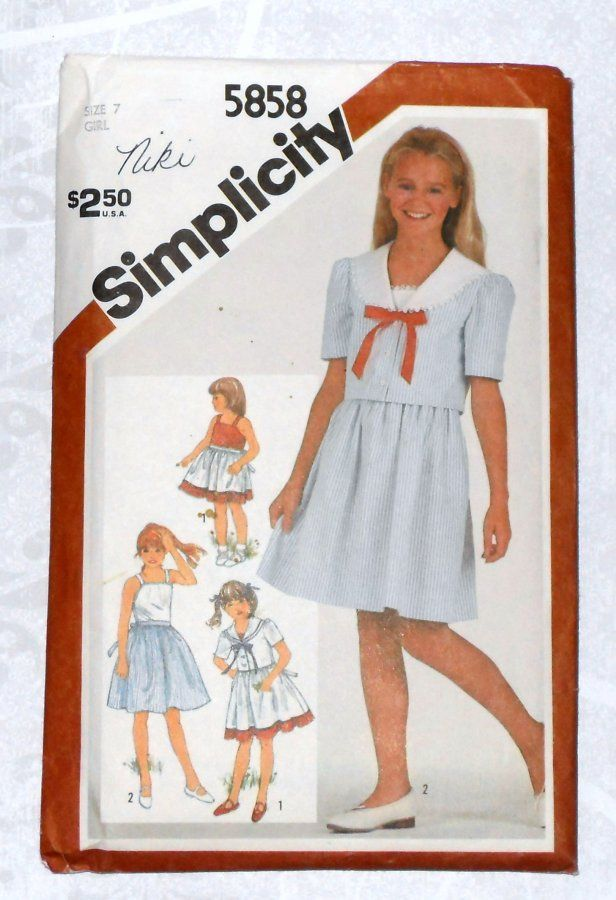 Girls Sundress and Jacket. 1980s Pattern. Sailor Collar. Full Skirt. - product images  of