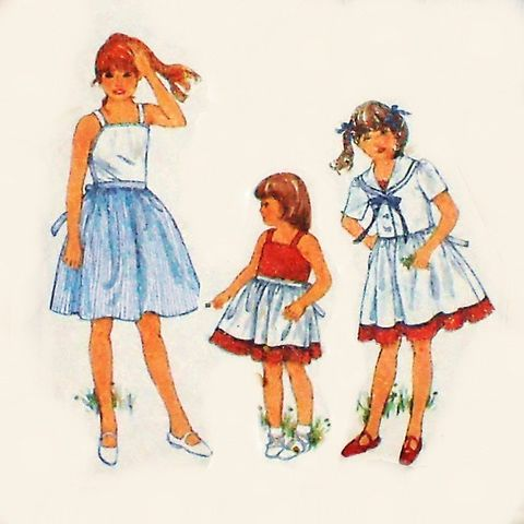 Girls,Sundress,and,Jacket.,1980s,Pattern.,Sailor,Collar.,Full,Skirt.,sewinghappyplace, Sewing Pattern, Vintage