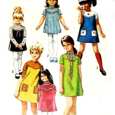 Girls,Dress,w,Yoke,Detail,1970s,Pattern.Embroidery,Ribbon,Lace.,sewinghappyplace, Sewing Pattern, Vintage
