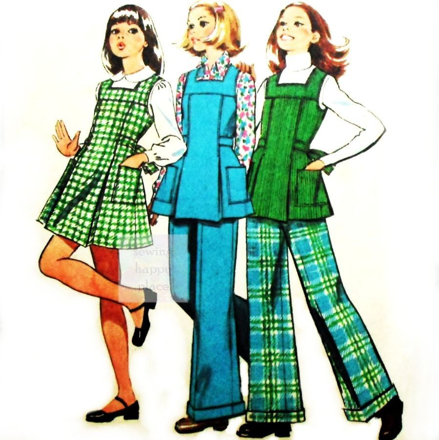 Girls Jumper Tunic Pants 1970s Pattern Square Neckline Back Bow Tie - product images  of