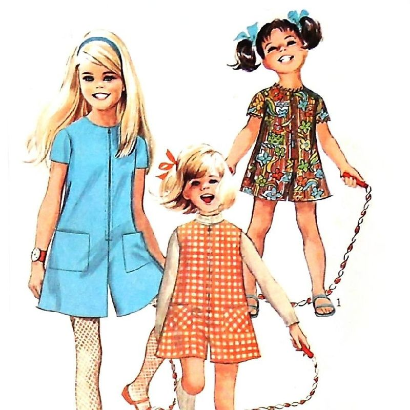 toddler girls pantdress romper 60s pattern retro mod play