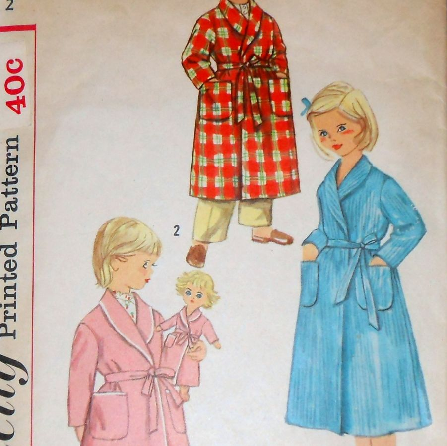 Toddler Robe Boy Girl 1960s Pattern. Front Wrap Shawl Collar. - product images  of