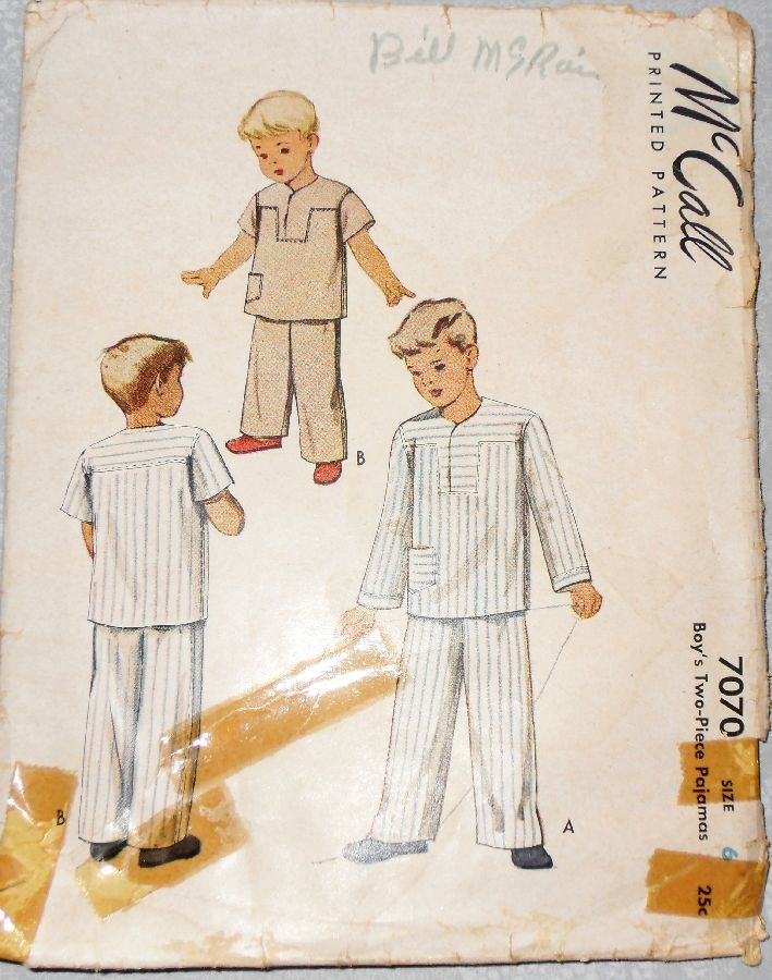Boys Pajamas PJs/ 1940s Pattern/ Lap Yoke Top/ Long or Short Sleeves - product images  of