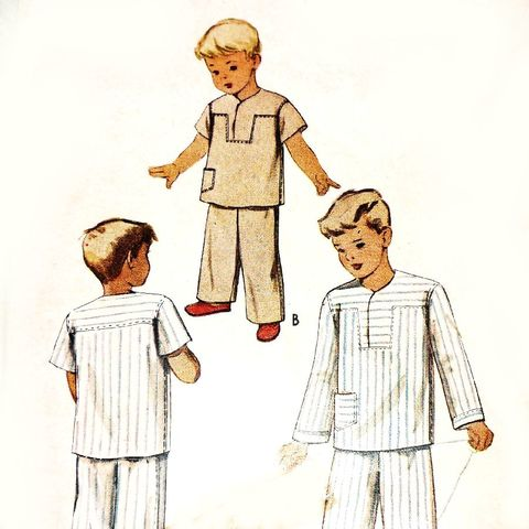 Boys,Pajamas,PJs/,1940s,Pattern/,Lap,Yoke,Top/,Long,or,Short,Sleeves,sewinghappyplace, Sewing Pattern, Vintage