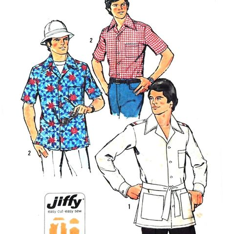 Mens,Camp,Shirt,1970s,Pattern.,Military.,Safari.,Magnum,PI,look.,Jiffy,sewinghappyplace, Sewing Pattern, Vintage