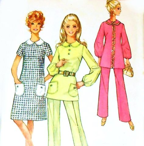 Aline,Mini,Dress/,Retro,Mod/,1970s,Pattern/,Patch,Pockets/,Tunic,Pants,sewinghappyplace, Sewing Pattern, Vintage